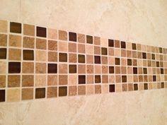 mixed mosaic shower border (glass & travertine) accent band - Apollo Beach, FL.