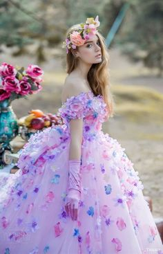 tiglily bridal 2016 off shoulder sweetheart ball gown wedding dress (jasmine) mv romantic pink lavender color
