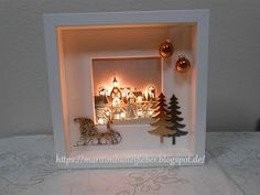 Marita´s Bastelzimmer: Ribba Rahmen mit Anleitung zu den Lämpchen You are in the right place about Frame Crafts fabric covered Here we offer you the most beautiful pictures about the Frame Crafts art Homemade Christmas Cards, Christmas Time, Christmas Crafts, Christmas Decorations, Christmas Shadow Boxes, Diy And Crafts, Paper Crafts, Ribba Frame, Xmas Lights