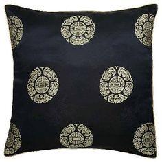 Chinese Dragons  Lotus Flower Black Pillow Sham