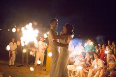 Add sparklers to your beach wedding to entertain your guests! Sparklers, Light Up, Destination Wedding, Mexico, Entertainment, Cakes, Adventure, Night, Beach