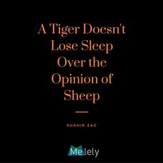 """"""" A Tiger Doesn't Lose Sleep Over the Opinion of Sheep"""" -Shahir Zag #MElelyBEAT #wordstoliveby #quoteoftheday #courage #inspirational #motivation #freedom"""