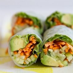 Vegan Spring Rolls... I would throw a little chicken in there but they sounds delicious
