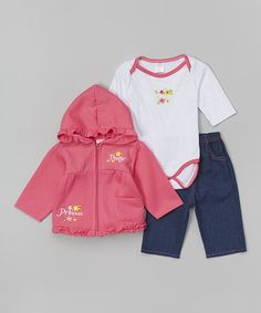 Take a look at this Pink 'Pretty Princess' Zip-Up Hoodie Set - Infant on zulily today!