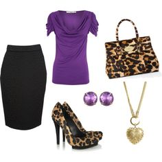 Out of sheer boredom I've been making outfits online. Huzzah! Violet purple and leopard print. :)