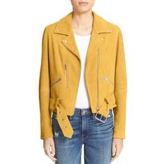 Women's Veda 'Gemini' Suede Moto Jacket ($600) ❤ liked on Polyvore featuring outerwear, jackets, mustard, biker jacket, moto jacket, rider jacket, suede biker jacket and yellow crop jacket