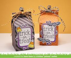 the Lawn Fawn blog: Trick or Treat (& Flirty Frames) Milk Carton Halloween Treat boxes by Yainea.