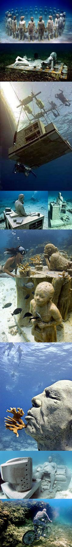 Cancun Underwater Museum is a series of sculptures by Jason deCaires Taylor placed underwater off the coast of Isla de Mujeres and Cancún, Mexico. The project began in November 2009 with placement of a hundred statues in shallow waters of the Cancún National Marine Park, which had been previously damaged by storms.