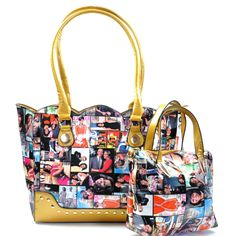 Gold Obama Magazine Print Glossy Vegan Leather Handbag Featuring Gold Stud and Wavy Edged Detail. Mini Bag measures x inches Color Gold Size x x inches Material Faux Leather Tote Handbags, Leather Handbags, Print Magazine, Michelle Obama, Gold Studs, Mini Bag, Vegan Leather, Shoulder Strap, Fashion Jewelry