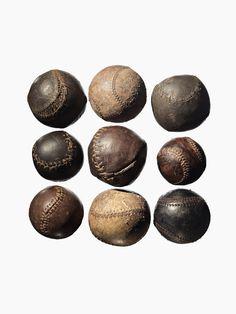 Nine Vintage Baseballs, photographed by Timothy Hogan. Look how far the sport of…