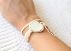 Cream white-pastel green double wrap pebble macramé by ilepieces