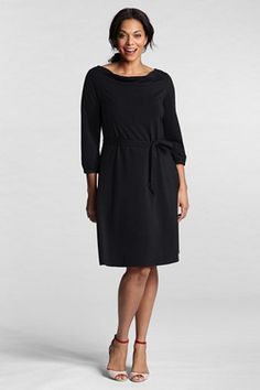 black drapeneck dress - Lands End