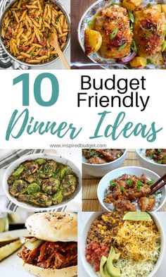 Easy Dinner Ideas Round up of 10 easy and budget friendly dinner ideas for busy weeknights! These meals will keep you from picking up fast food on the way hom Cheap Easy Meals, Inexpensive Meals, Cheap Dinners, Frugal Meals, Budget Meals, Cheap Food, Cheap Healthy Dinners, Freezer Meals, Cooking For A Crowd