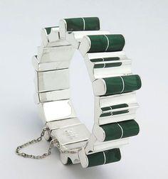 Vintage Mexican .970 Silver & Malachite Heavy Wide Chunky Link Bracelet