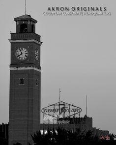 Clock Tower and classic neon sign at Goodyear World Headquarters, East Akron, Ohio Cleveland Ohio, Cincinnati, Tallmadge Ohio, Marion Ohio, Portage Lakes, Cuyahoga Falls, Summit County, Hampton Inn, Amish Country