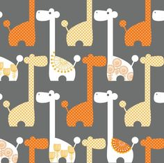 Grey & Orange Mod Giraffe Fabric - AHHHH, the cuteness is kinda overwhelming. o_O