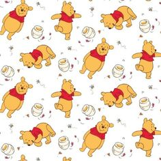 Oh, honey honey! Sweet Winnie The Pooh fabric. Winnie The Pooh Tattoos, Winnie The Pooh Drawing, Winnie The Pooh Pictures, Winnie The Pooh Honey, Winnie The Pooh Friends, Disney Winnie The Pooh, Mickey Mouse Wallpaper, Bear Wallpaper, Wallpaper Iphone Disney