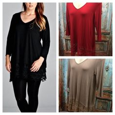 """HOST PICK 12/9STUNNING LACE TUNICS! Beautiful essential tunics for every closet. Light enough to be worn year round. Versatile enough to be worn to dinner or shopping. 95% rayon, 5% spandex. Length: 35-37""""                                                ♦️1X: bust 42""""                                                         ♦️2X: bust 46""""                                                        ♦️3X: bust 49""""  RED SOLD IN 3X    PLEASE DO NOT BUY THIS LISTING, I will personalize one for you. RUBY…"""