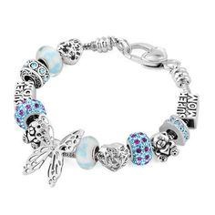 Blue Charm Heart Bracelet Bear Bead Butterfly Super Mom Gifts For Mother A02