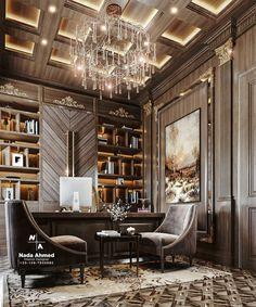 Restaurant Interior Design, Office Interior Design, Luxury Interior, Interior Design Inspiration, Interior Architecture, Dark Interiors, Office Interiors, Home Office Cabinets, Luxury Office