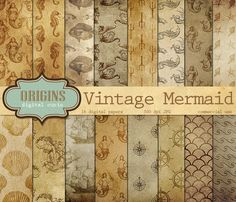 Vintage Mermaid Nautical Backgrounds by Origins Digital Curio on Creative Market