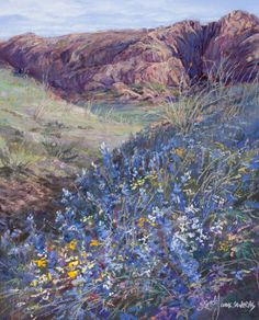 """Big Bend National Park in springtime is """"Bursting With Bluebonnets"""" pastel landscape painting by Texas artist Lindy C Severns Available as a hand-repainted print"""