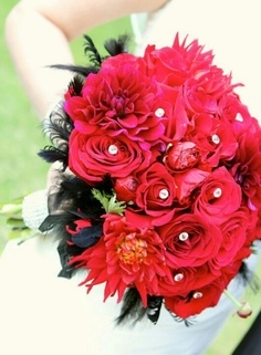 Red and black bouquet
