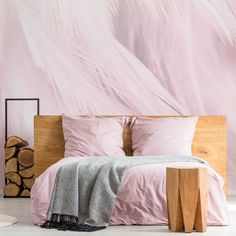 Anyone else feel instantly calmed by this blissful feather mural? For a unique twist on the classic animal print, choose a feather mural to instantly add a sense of serenity and romance to your bedroom. Style with a rustic wooden bed and add baby pink bedding to match the pastel tones in the wallpaper. Head to the Wallsauce.com Instagram for more bedroom inspiration! #bedroominspo #bedroomdecor Bedroom Inspo, Bedroom Inspiration, Bedroom Decor, Rustic Wooden Bed, Bedroom Wallpaper, Pink Bedding, Beautiful Bedrooms, Serenity, Feather
