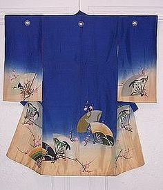 Antique Japanese Kimono, Fans and Plum Blossoms, Yuzen
