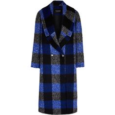 PAPER London Rainbow Plaid Coat ($655) ❤ liked on Polyvore featuring outerwear, coats, plaid, double breasted coat, blue coat, blue double breasted coat, oversized coat and plaid coat
