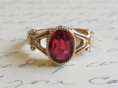 ON SALE Antique Victorian Ruby Ring 10k by PeacockVintageBijoux