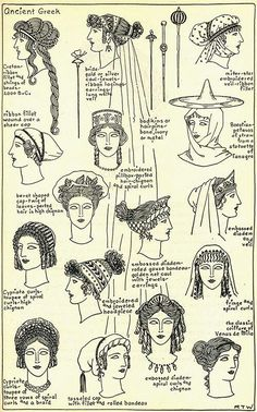 Women's hairstyles and accessories throughout ancient Greek history. Women's hairstyles and accessories throughout ancient Greek history. Ancient Greece Clothing, Ancient Greece Fashion, Greek History, Ancient History, Historical Costume, Historical Clothing, Greece Outfit, Greek Fashion, Greek Inspired Fashion