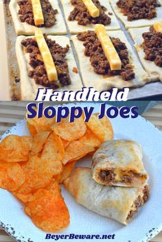 These sloppy joe sticks are handheld sloppy joes that meld meat and cheese together inside a burrito made from pizza crust. #sloppyjoes #Handhelds #Tailgatingrecipes Finger Snacks, Quick Snacks, Easy Hamburger Meat Recipes, Healthy Sloppy Joe Recipe, Healthy Sloppy Joes, Homemade Sloppy Joes, Easy Sloppy Joes, Sloppy Joe Sauce, Sloppy Joes Recipe