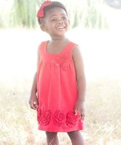 Red Flower Jumper Dress - Toddler & Girls by Sweet Charlotte #zulily #zulilyfinds