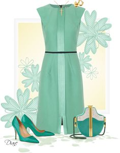 A fashion look from April 2013 featuring green dress, heel pump and kate spade pumps. Browse and shop related looks. Classy Outfits, Beautiful Outfits, Cute Outfits, Dress Outfits, Dress Up, Fashion Outfits, Womens Fashion, Nice Dresses, Dresses For Work