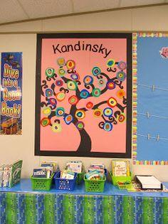 Some Kind of One-derful: Art - Learning about Kandinsky Collaborative Art Projects, School Art Projects, Artists For Kids, Art For Kids, Kandinsky Art, Preschool Arts And Crafts, 2nd Grade Art, Inspiration Art, Ecole Art