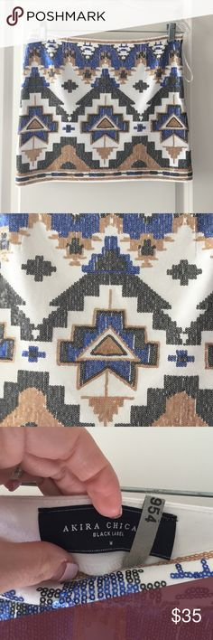 Tribal sequin mini skirt Tribal sequin mini skirt - Akira - medium - worn only 1x AKIRA Skirts Mini