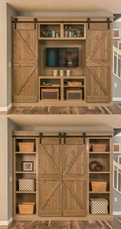 No directions, but shouldn't be hard to figure out and put together.... love the idea for a Barn door entertainment center
