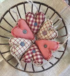 Primitive Valentine's ornament rag quilted Hearts set of 6 or 12 Primitive Christmas Ornaments, Quilted Ornaments, Fabric Ornaments, Christmas Crafts, Fabric Wreath, Christmas Sewing, Rustic Christmas, Christmas Stuff, Christmas Decorations