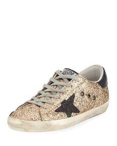 Golden Goose Superstar Glitter Fabric Low-Top Sneakers f420ce8d3d11