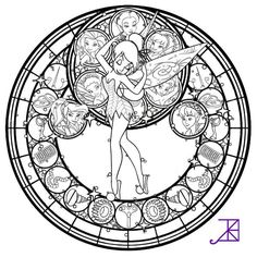 Free To Color Just Credit Me For The Design Colored Version Link Other Coloring Pages And Things Use Disney Fairies Stained Glass