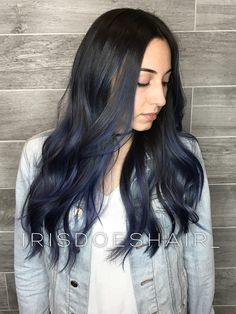 Long blue balayage hair