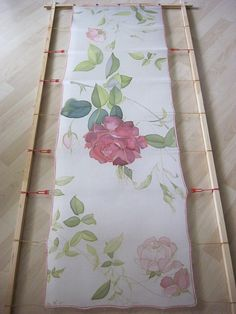 Hand painted silk scarf Bridal accessories Roses red and white