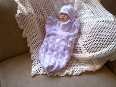 hand knitted cocoon and hat set size preemie for baby or reborn doll