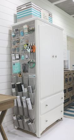 Over the door storage for crafts and more.Create the perfect home office in a small space with plenty of storage. Better Homes & Gardens at Walmart storage ideas and more ideas for small space Affordable Ideas to Create the Perfect Small Home Office Craft Room Storage, Door Storage, Bathroom Storage, Sewing Room Storage, Art Storage, Hanging Storage, Fabric Storage, Tall Cabinet Storage, Home Office Organization