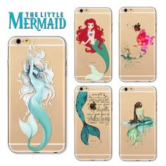 For iphone 7 7plus Mermaid Painted TPU Phone Case for iPhone 6 6s plus Princess Painting Back Cover