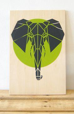 Cute Elephant on Plywood, Limited Edition, Lime Green Art. Original Art, Stencil Art, Geometric Art, Origami Elephant