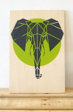 Cute Elephant on Plywood, Limited Edition, Lime Green Art. Original Art, Stencil Art, Geometric Art, Origami Elephant