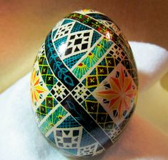 Egg Pysanka Ukrainian Easter Egg Batik decorated Goose by Suzy6281