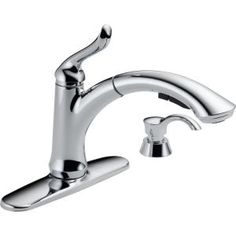 Delta Linden Single-Handle Pull-Out Sprayer Kitchen Faucet with Soap/Lotion Dispenser in Chrome - - The Home Depot Pull Out Kitchen Faucet, Single Bowl Kitchen Sink, Kitchen Handles, Kitchen Faucets, White Kitchen Cart, Kitchen Island With Seating, Rev A Shelf, Bronze, Delta Faucets